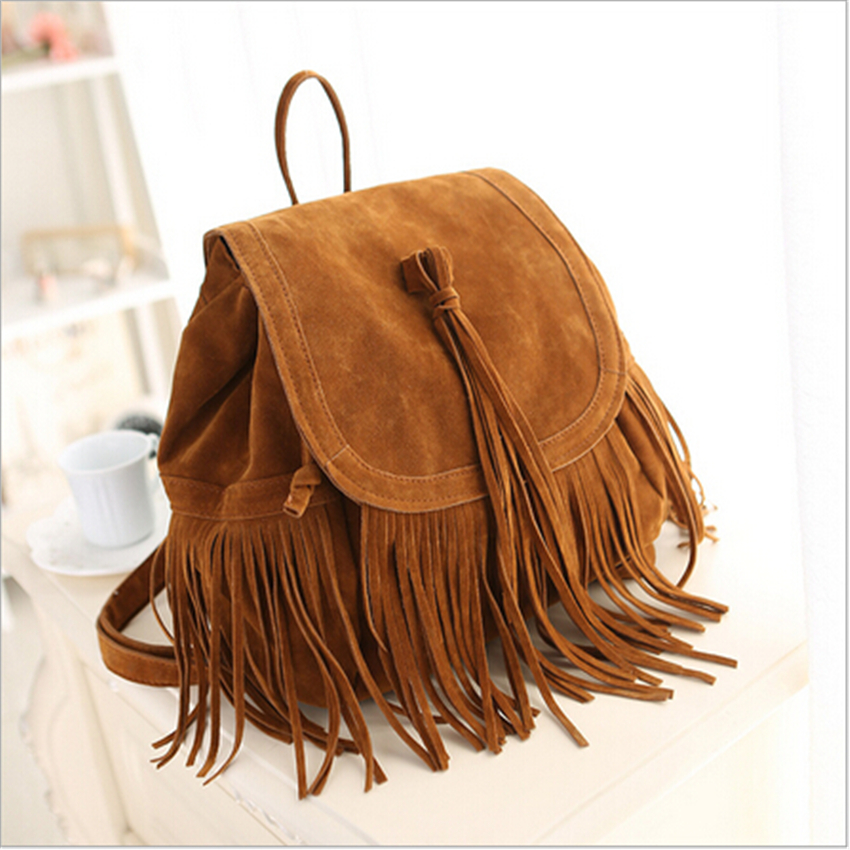 2017 new fashion women tassel backpacks girls vintage suede shoulder school bags travel backbags. Black Bedroom Furniture Sets. Home Design Ideas
