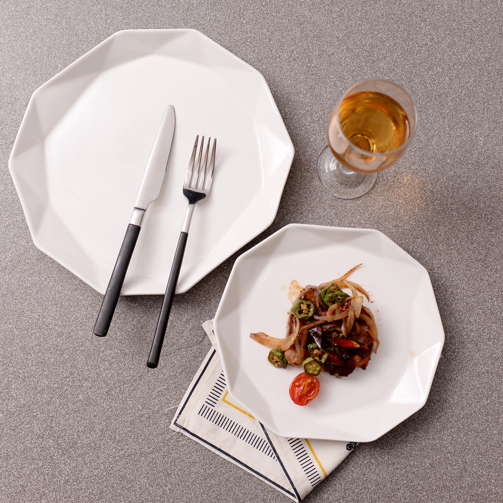 Western Sweet Dishes Recipes: 2PCS Western Style Food Dish Deefsteak Plate Ceramic Fish