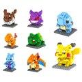 8 pçs/set Kawaii Figuras Blocos de construção Brinquedos Pikachu Bulbasaur Charmander Squirtle Mewtwochild Presente da Criança Blocos de Construção Presente