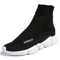 Plu الحجم 47 أسود ماركة مصمم الاحذية عشاق الرجال جورب أحذية الانزلاق على جودة عالية حذاء المشي تتجه الأحذية