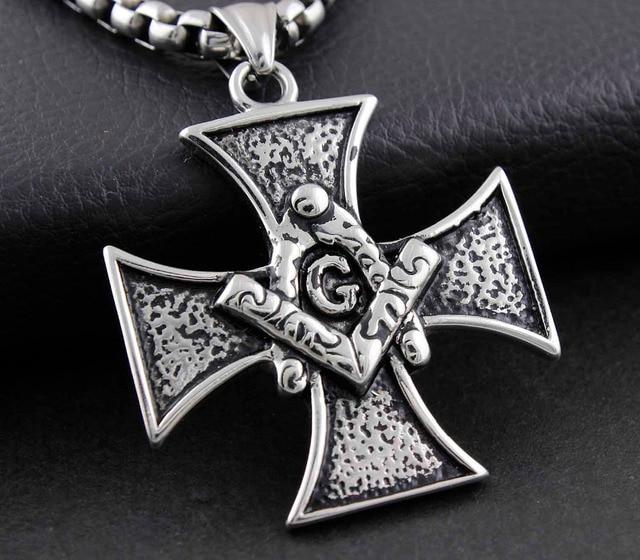 Masonic Cross Pendant Freemason Mens Stainless Steel Iron Cross