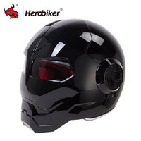 HEROBIKER Motorcycle Helmet Vintage Retro Cruiser Chopper Cafe Racer Capacetes Moto Helmet Motorbike Full Face Helmet Casco Moto