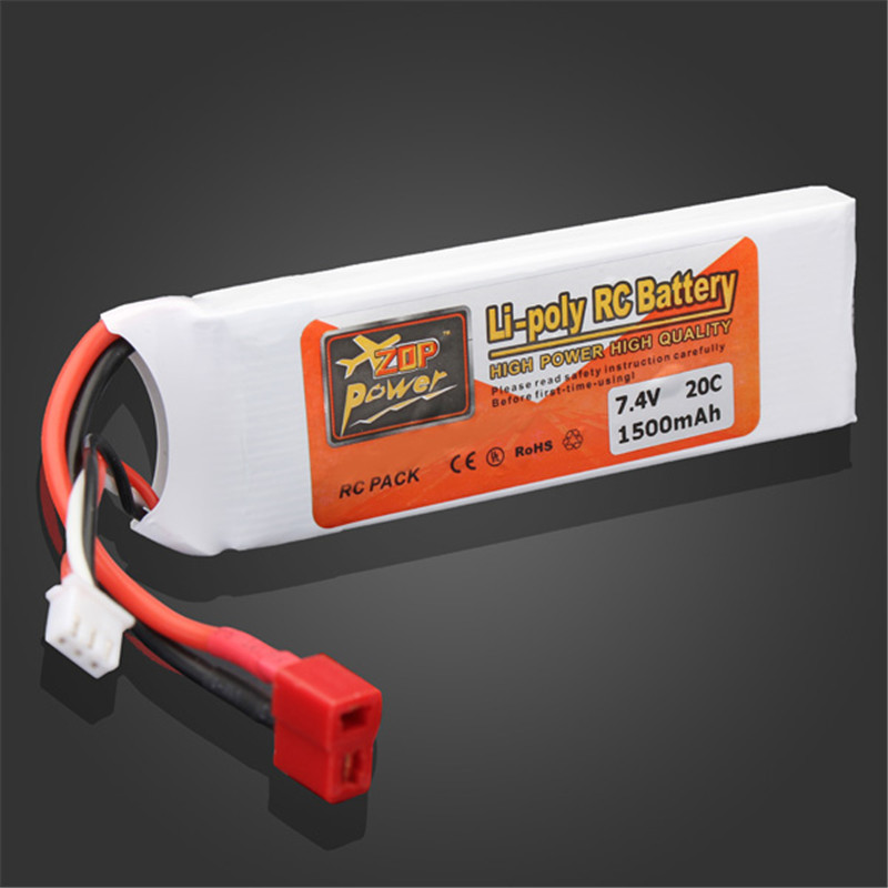 Rechargeable Lipo Battery ZOP Power 7.4V 1500mAh 2S 20C Lipo Battery T Plug For RC Toys Models high quality zop power 14 8v 2200mah 4s 45c lipo battery t plug rechargeable lipo battery for rc helicopter part