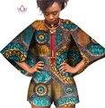 BRW Bazin Riche African Wax Print Dashiki Jumpsuit Plus Size 6xl Romper Jumpsuit Cloak Playsuit African Clothes for Women WY393