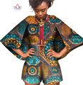 BRW Bazin Riche Africano Wax Imprimir Dashiki Macacão Plus Size 6xl Romper Playsuit Jumpsuit Manto Roupas Africano para As Mulheres WY393