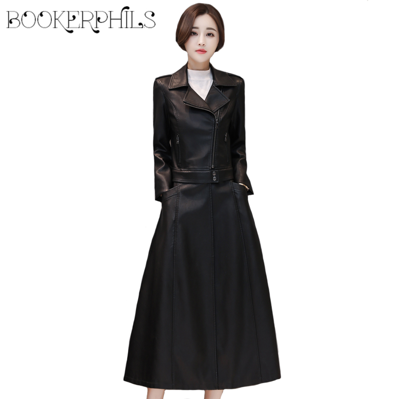 Black   Leather   Jacket Women 2019 Autumn Winter Outerwear Plus Size Soft Sheepskin Coat Women Artificial Faux   Leather   Coat Women