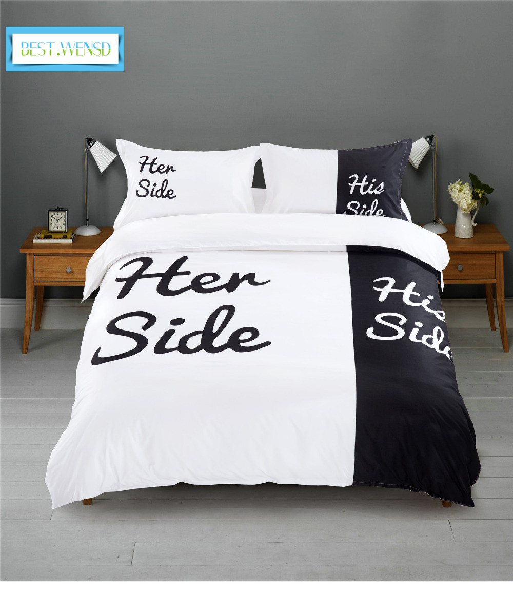 US $50.05 35% OFF|BEST.WENSD Black white Her Side His Side comforter  bedding sets double bed 3/4pc Bedsheets Couples Duvet Cover Set jogo de  cama-in ...