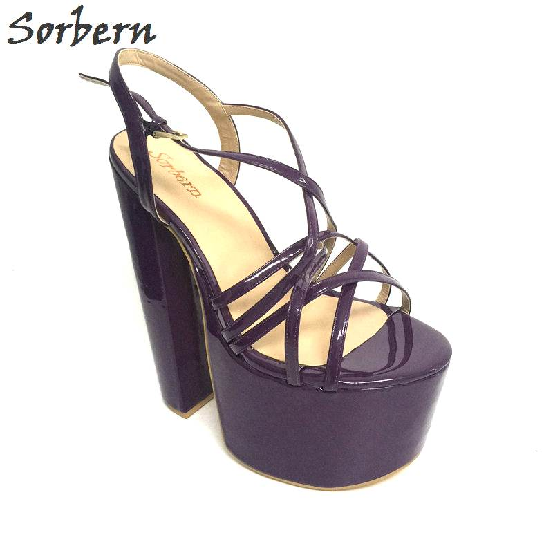 Sorbern Shiny Custom Plus Size Summer Sandals for Women Shoes Extreme High Heels Large Size Fetish Sandalias Mujer 2017 Size 46 sorbern plus women sandals deep purple zipper spike heels sandalias mujer 2017 summer shoes women large size shoes women 43