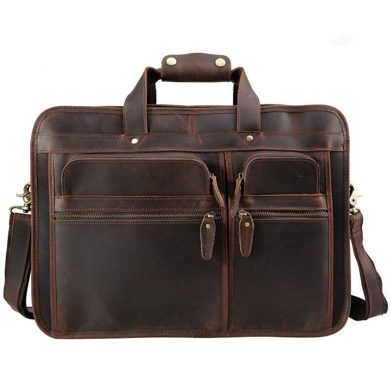 men's handbag real leather 2017 new european vintage man brand travel shoulder bags crossbody bags male briefcase bags