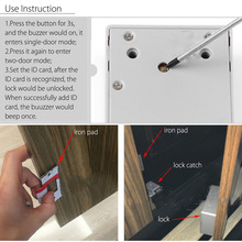 Battery RFID Cabinet Drawer Lock DIY Digital Portable Keyless Durable Without Perforate Hole --M25
