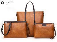OLIVES 3 pcs Top Qualité Huile-Cire Cuir Femmes Sac En Cuir sacs à main Casual Femme Sacs Tronc Fourre-Tout Marque Épaule Sac Dames sac