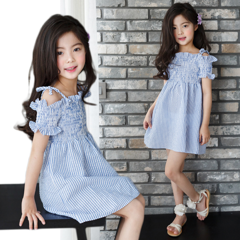 Cotton Princess Dress Girl 2018 Brand Summer Off Shoulder Teenage Girls Party Dress Kids Children Blue Striped Dresses Clothes