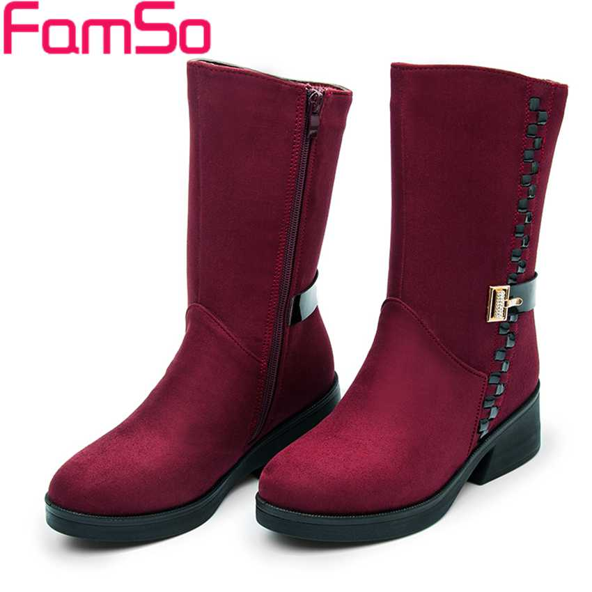 2016 font b Women b font Boots Black Heels Shoes Buckle Mid Calf Cotton Injection Shoes