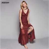 2017 Beach Dress Sexy Dresses Boho Bohemian People Holiday Summer Long Perspective Women Party Hippie Chic
