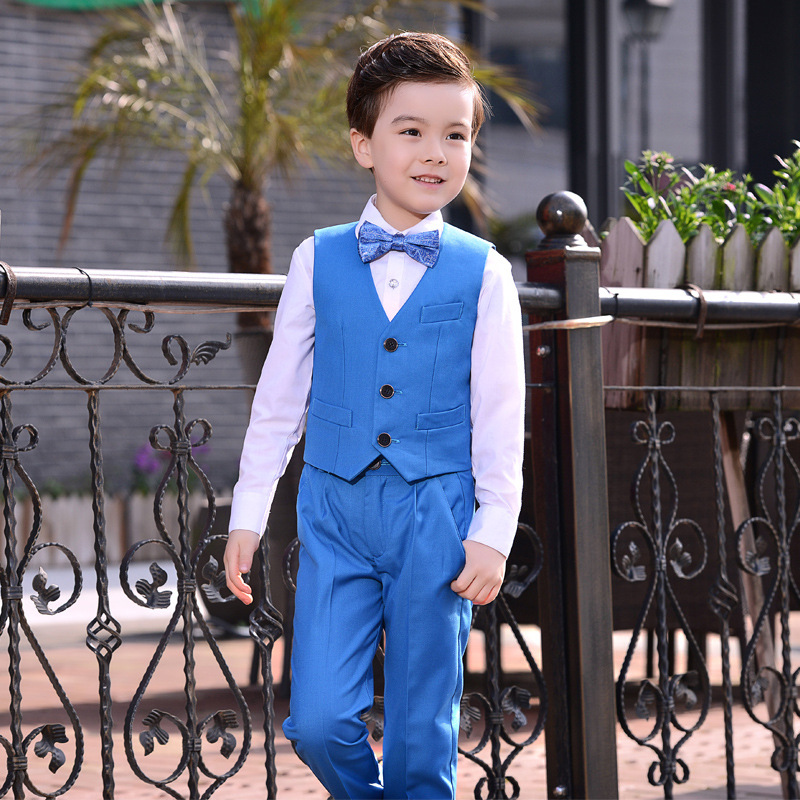 b64b61895e5c Big Boy Suits 4pcs Set (Vest Suit Pants Bow) Preppy Style Host Piano  Performance Costume Blue Colors for Over 8 Years Old Kids