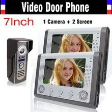 7 Inch LCD Monitor Video Door Phone Video Doorbell System IR Night Version Camera video intercom kit Video Doorphone 2-Monitor