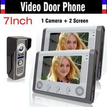 """7 pulgadas Video de la puerta teléfono LCD Monitor de vídeo portero automático Cmos IR versión de la noche sistema de intercomunicación Video 7 """" Video timbre de la puerta 1V2"""