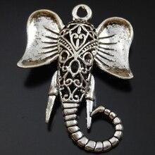 6 Piezas de Plata Antiguo de la Aleación De Cabeza de Elefante Collar Colgante Pulsera Charms Fine Jewelry Making 32*9*42mm Animal lindo 39943 de Diciembre