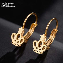 SMJEL Princess Crown Hoop Earrings for Women Fashion Jewelry Kids Girls Gift Engagement Stainless Steel Earings