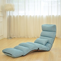 Portable Leisure Chair Adjustable Lazy Sofa Floor Chair with Feet Cushion Cotton and Line Fabric Sofa Bed Strong Bearing