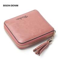 BISON DENIM Women Purse Holders Cowhide Genuine Leather Women   Wallet   Tassel Zipper Purse Photo Slot Luxury Women   Wallet   N9336
