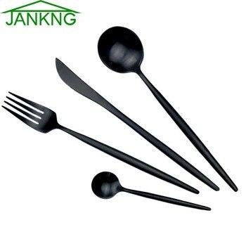 JANKNG 18/10 European Black Stainless Steel Dinnerware Set Luxury Matte Fork Knife Cutlery Set Dinner Silverware Tableware for 1
