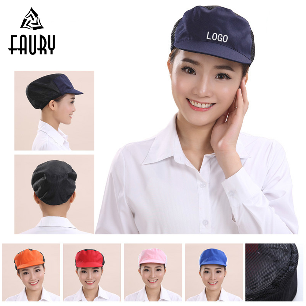 Customizable Logo Elastic Mesh Caps Restaurant Hotel Bakery Factory Warehouse Waiter Chef Women Men Breathable Workshop Caps