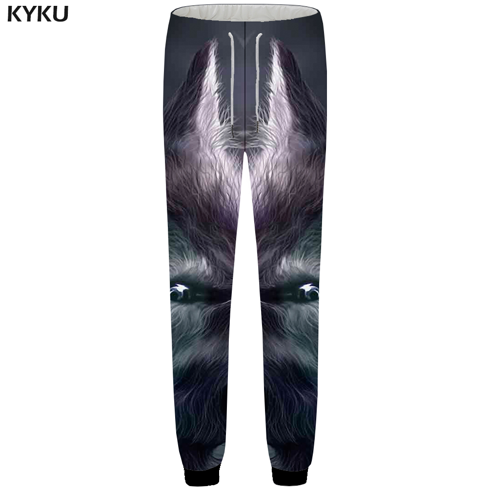 KYKU Wolf Sweatpants Men Jogger Animal Britches Gothic Lightning 3d Printed Pants Baggy Bodybuilding Mens Trousers Fashion 2018