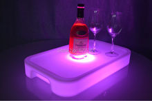 Waterproof LED Light Up Square Serving Tray Multi Colors Rechargeable fruit drinks trays Holder light + Remote Controller