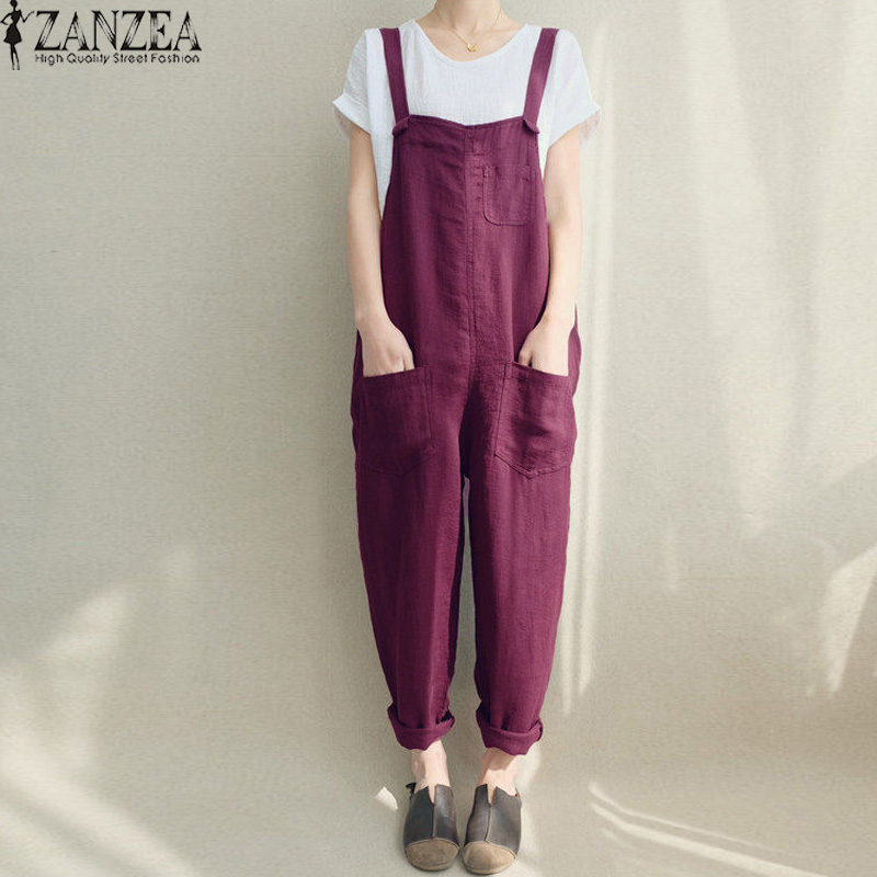 ZANZEA 2019 Women   Jumpsuits   Vintage Trousers Female Strap Playsuit Sleeveless Rompers Suspender Casual Solid Dungaree Bodysuit