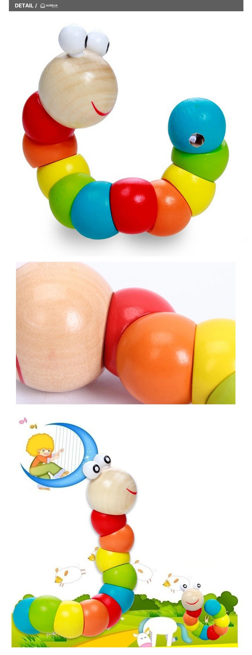 Colorful Insects Puzzles Kids Educational Wooden Toys Baby Children Fingers Flexible Training Science Twisting Worm Toys 3