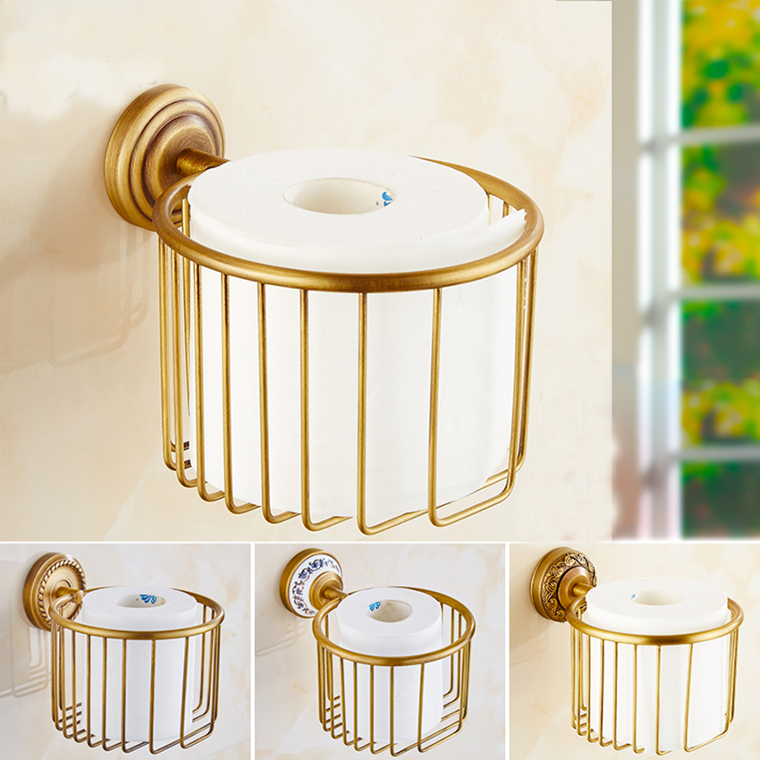 1 pc Paper holders antique brass wall shelf toilet paper roll tissue basket  bathroom accessories paper rack
