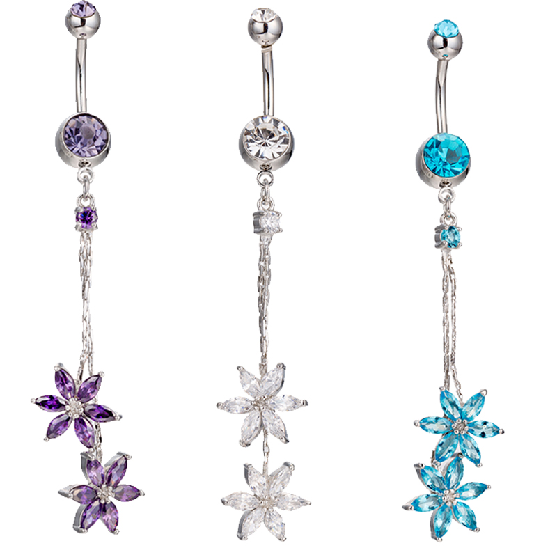 Woman's Flower Tassel Belly Button Rings Bar Surgical Piercing Body Jewelry Navel Piercing P150