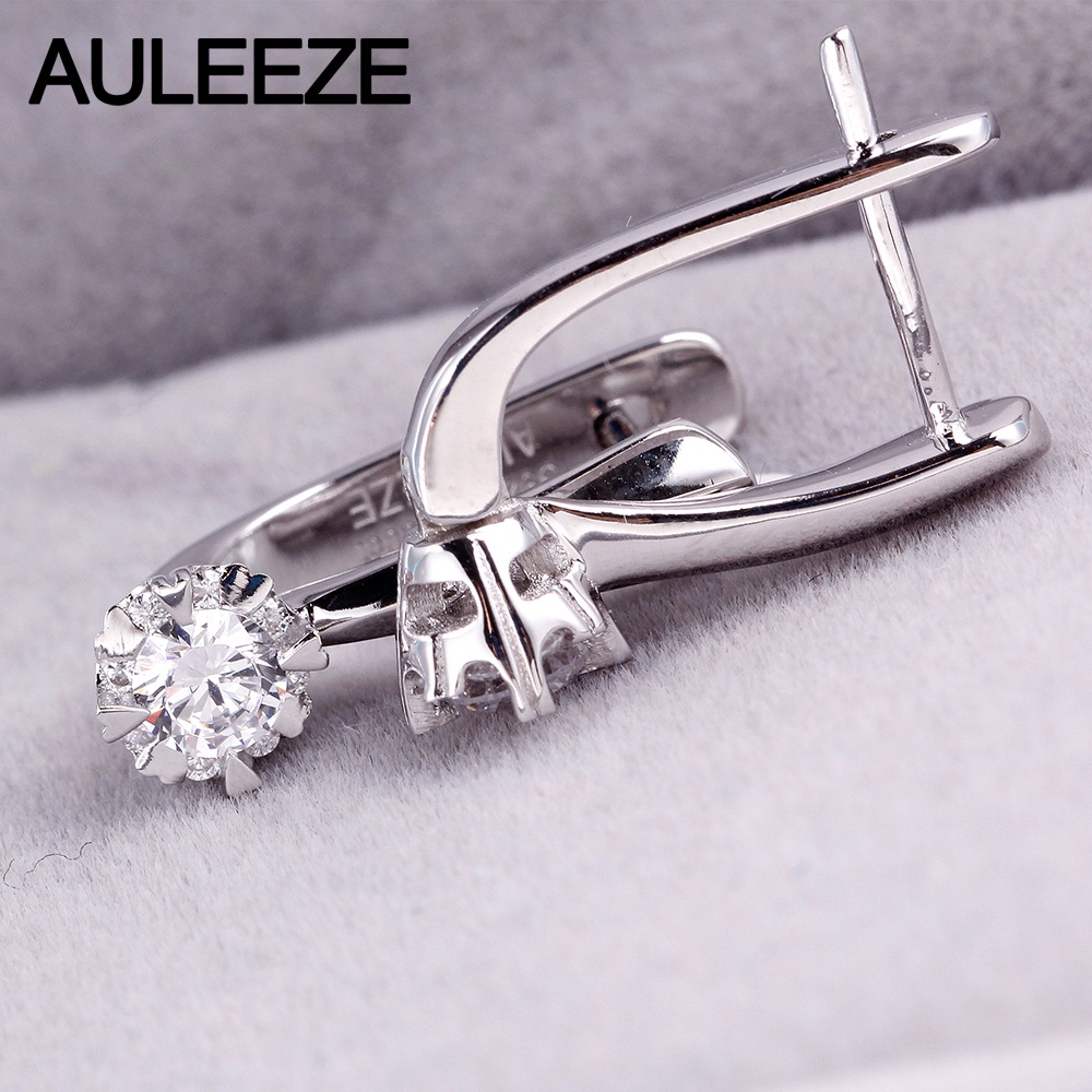 Auleèze classique rond brillant coupe Moissanite diamant Clip boucles d'oreilles pour les femmes 9 K or blanc boucle d'oreille bijoux de mariage - 4