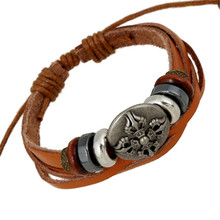 RONGQING Hombre High Quality Cool Antique Pattern Leather Bracelet Men Steampunk Fashion Hippie Pulseira