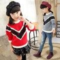 Зимние модели кружева шить толстый свитер и девочка красный и серый свитер и 9 и 10 и 11 Age девочка одежды детям одежду