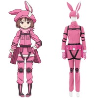 Sword Art Online Alternative Gun Gale Online Cosplay Costume Pink LLENN Outfit Halloween Carnival Cosplay Costume