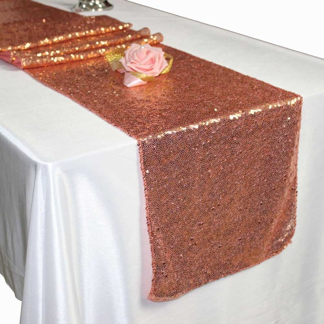 20pcs 30 275cm Luxury Sequin Table Runner Wedding Party Decoraiton Gold Silver