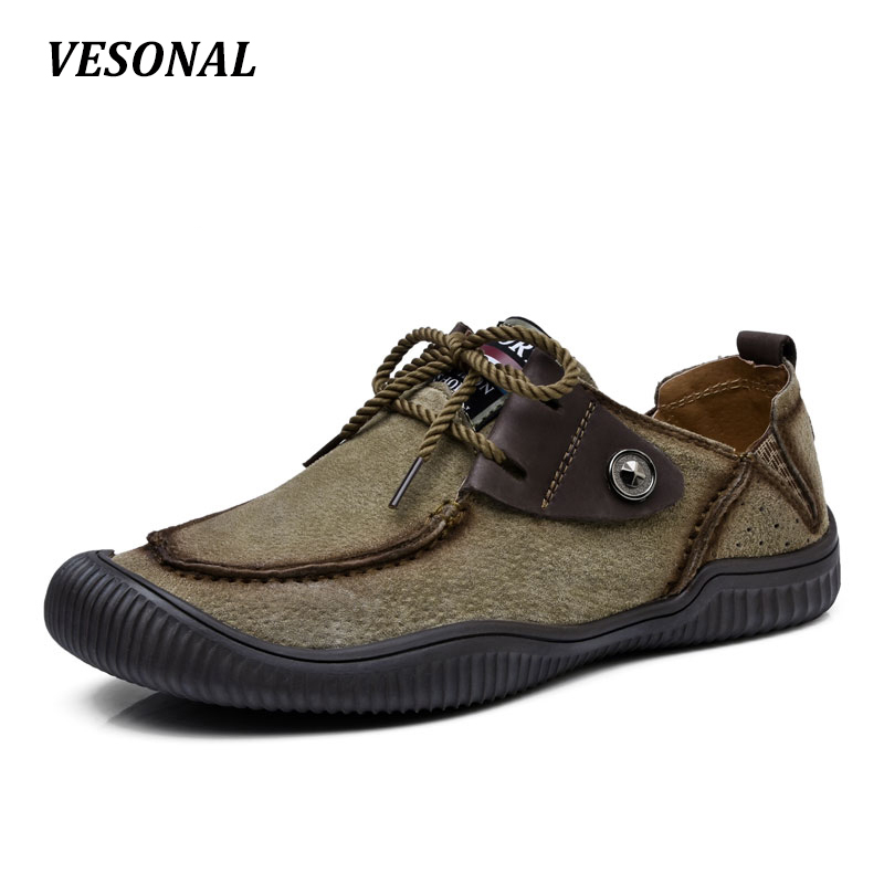 VESONAL New 2017 Brand Summer Genuine Leather Men Shoes Casual Flats Loafers Fashion Slip On Driving Breathable Size 38-44 V8080 big size 46 summer breathable mesh loafers men casual shoes genuine leather slip on brand fashion flat shoes soft comfort cool