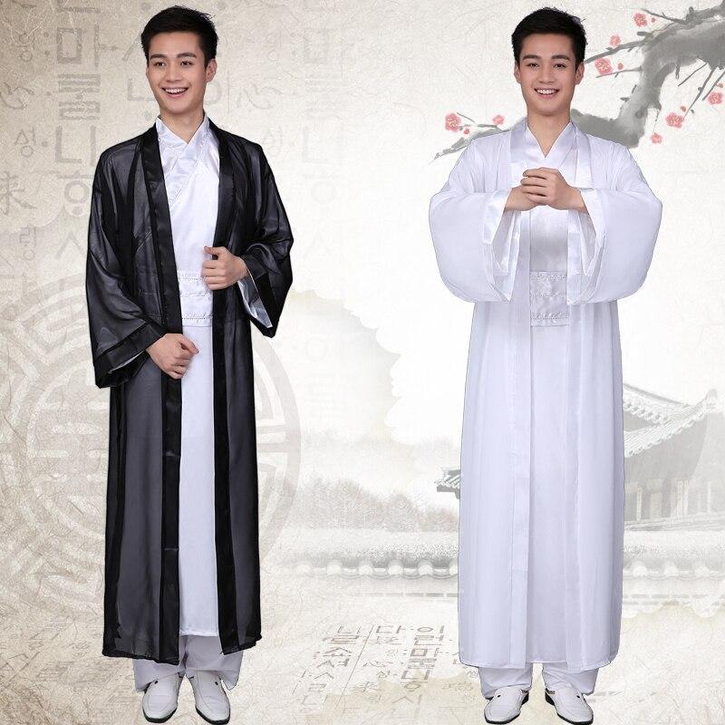 Chinese Nationale Hanfu Zwart Wit Oude China Kostuum Hanfu Mannen Kleding Traditionele Nationale Pak Stadium Kostuums Geavanceerde TechnologieëN