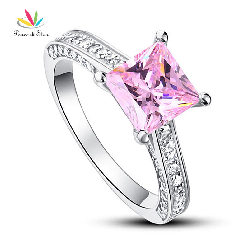 Peacock Star 1.5 Carat Princess Cut Fancy Pink Solid 925 Sterling Silver Wedding Engagement Ring Jewelry CFR8195