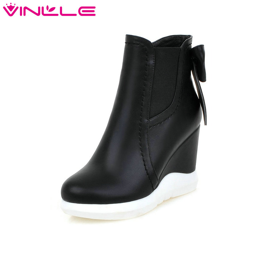 VINLLE 2016 Sweet Bow Tie Autumn Women Shoes White Ladies Wedges High Heel Ankle Boots Women
