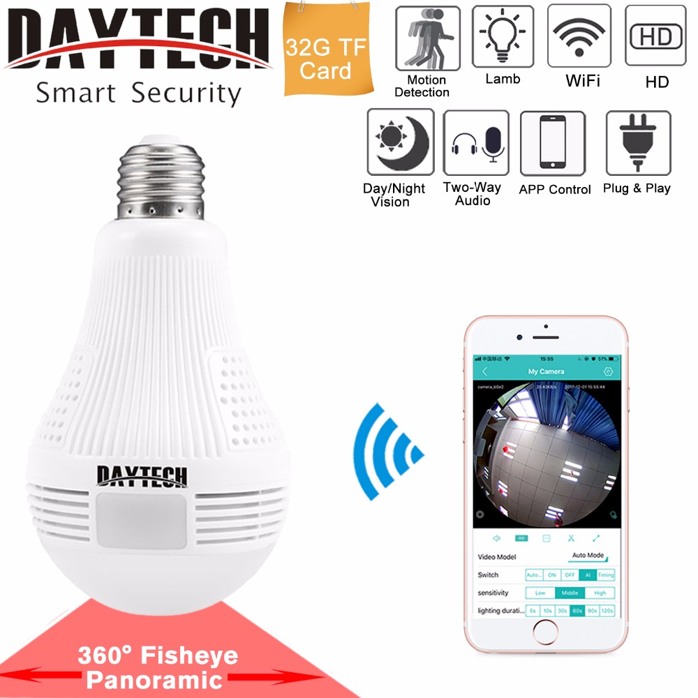 DAYTECH WiFi IP Camera Wireless HD 960P/1080P Camera Home Security Baby Room 360 Degree Panoramic Angle Lamp Light Two-way Audio