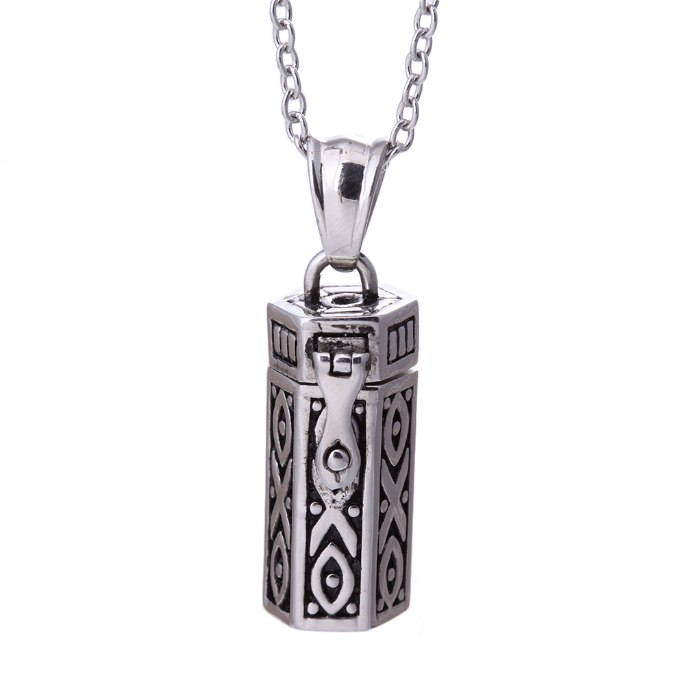 Steam Punk Retro Antique Silver Rectangle Box Doa Kalung Loket Tribal, Secret Box Wish Mystical Tibetan Amulet Collares