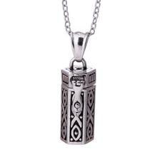 Steam Punk Retro Antique Silver Rectangle Prayer Box Tribal Pendant Necklace,Mystical Secret Wish Box Tibetan Amulet Collares