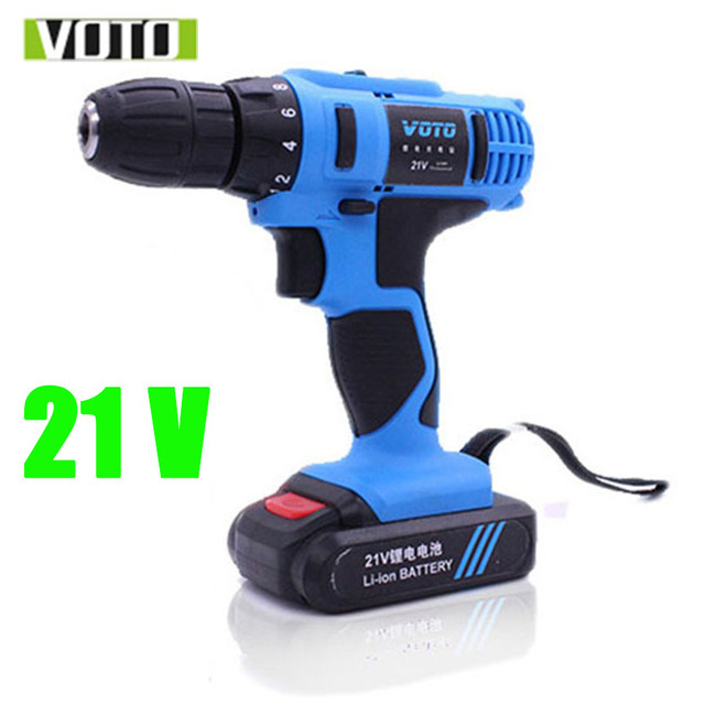 VOTO Battery Rechargeable Cordless Drill Electric Screwdriver Set Lithium Power Tools Screw Gun Driver 21V Blue 220V 2018