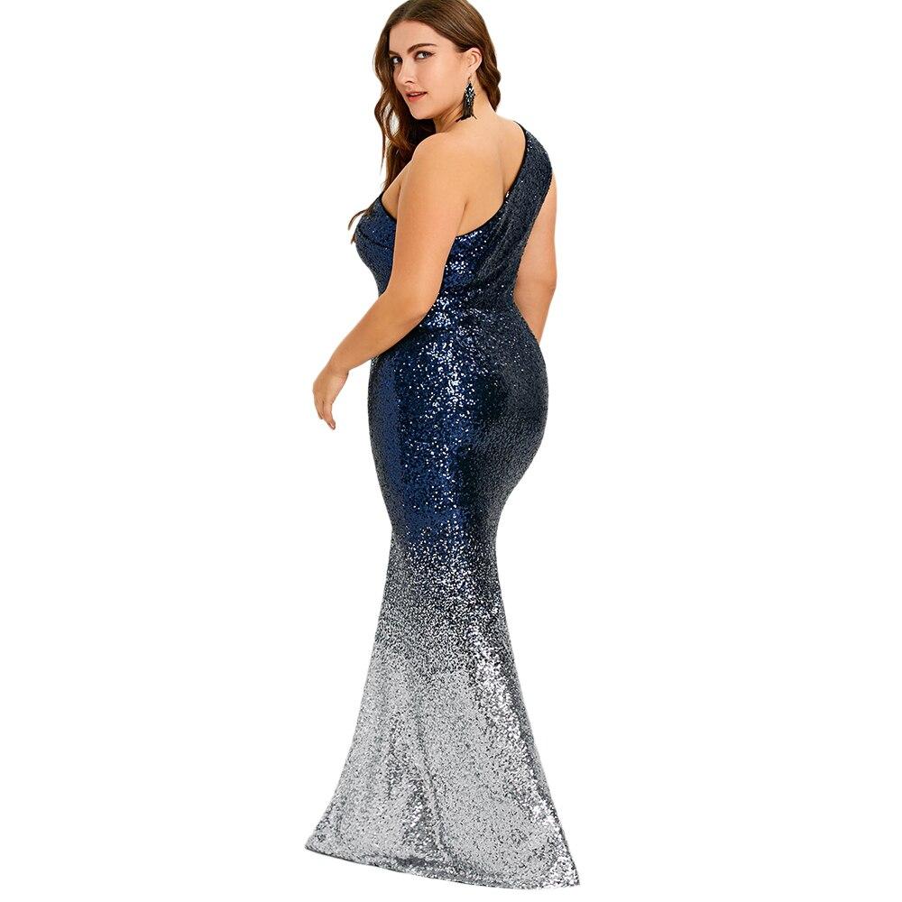 529c68832a Rosegal Plus Size One Shoulder Sleeveless Sequined Mermaid Dress Women  Dress Sexy Dresses 2018 Elegant Party Vestido De Fiesta