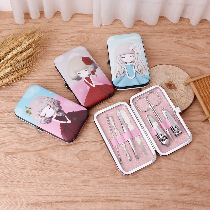 7Pcs/set Girls Cartoon Box Pedicure Manicure Scissors Set Nail Clippers Cleaner Cuticle Grooming Kit Case Fashion Travel Set New