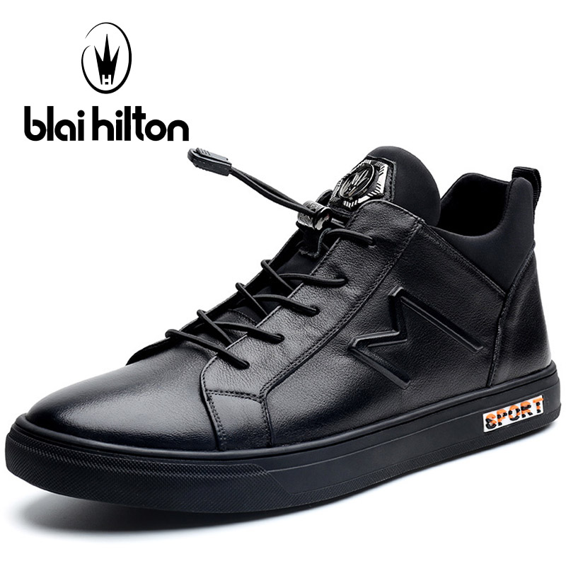 Blaibilton Elastic band Skateboard Shoes For Men Genuine Leather Men's Sneakers Thermal Breathable Black Sport Shoes Man Brand