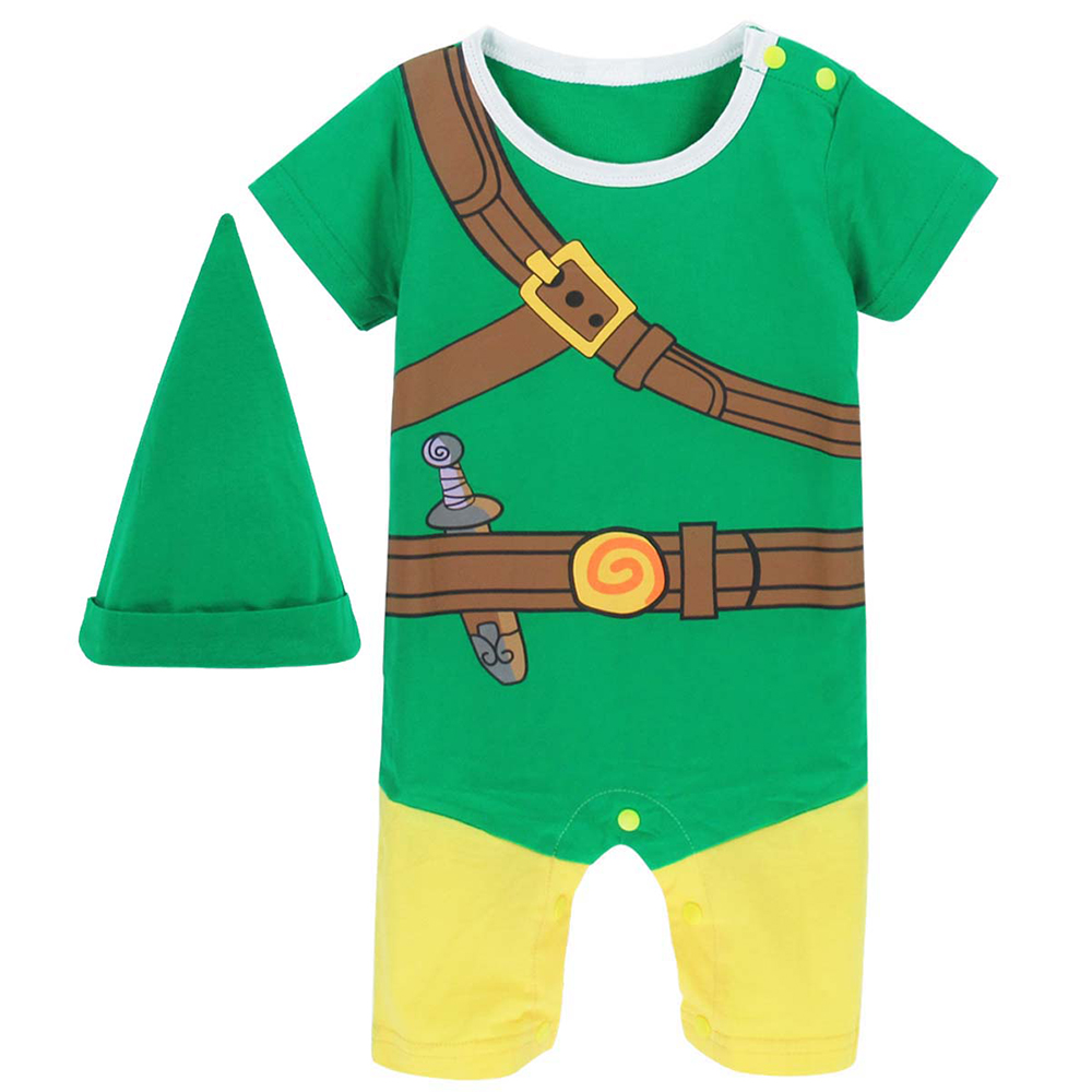 Baby Boys Zelda Link Costume Romper Infant Cosplay Playsuits Jumpsuit One-Pieces New Year Costume For Boy Christmas Newborn puseky 2017 infant romper baby boys girls jumpsuit newborn bebe clothing hooded toddler baby clothes cute panda romper costumes